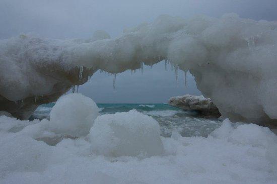 Omena, MI: Lake Michigan winter