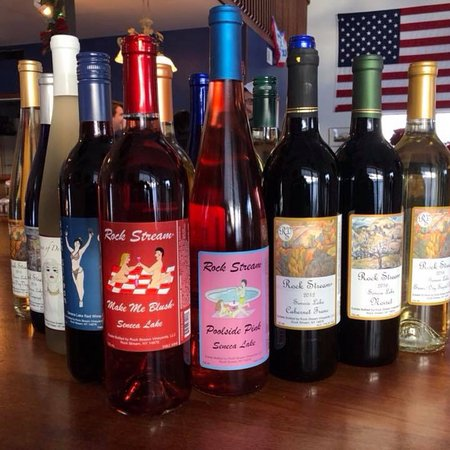 Owners of Rock Stream Vineyards frequently greet customers to taste their large selection of win