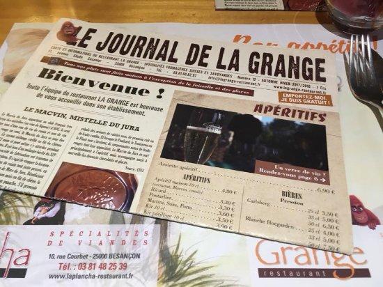 Le menu tr s original picture of la grange besancon tripadvisor - Restaurant la grange besancon ...