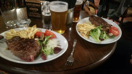 The Spotted Dog: Cask ale and steak and chips!