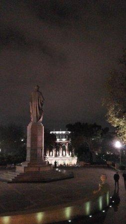 Guba-Khachmaz Region, أذربيجان: Nizami Gandjavi's Statue in front of Nizami Museum of Azerbaijani Literature. Credited from Tour