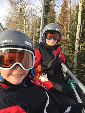Alta, WY: My kids riding up Shoeshone