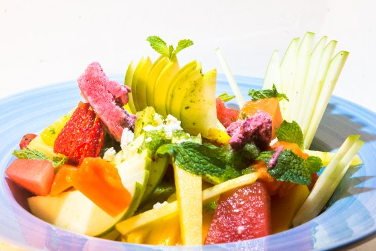 El Name: Spectacular fruit salad: Mix of season fruits with fruit ice-cream and frozen mint