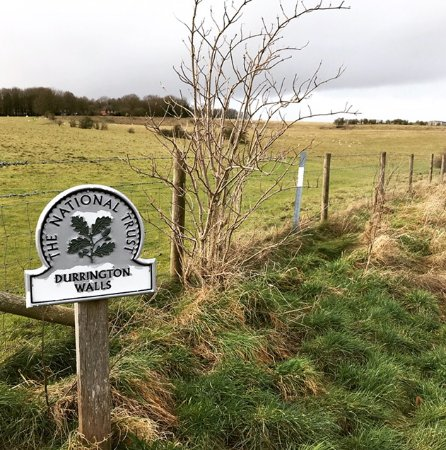"""Durrington Walls, site of a large Neolithic settlement and remains of a henge monument """"walls""""."""