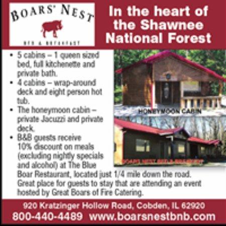 Cobden, IL: For rates go to www.boarsnestbb.com