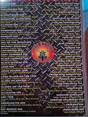 Huge drink menu
