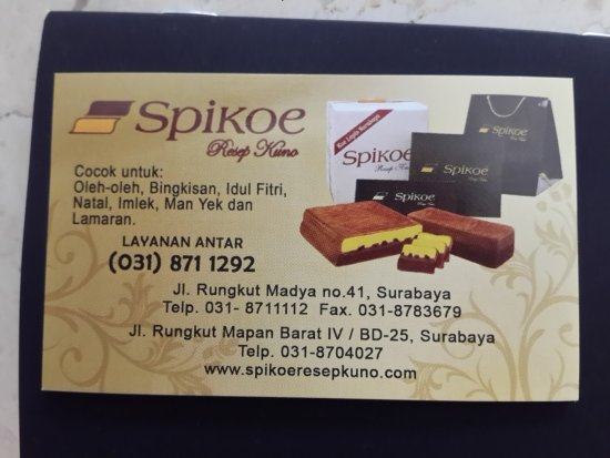 Name Card Picture Of Spikoe Resep Kuno Surabaya Tripadvisor