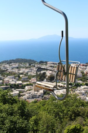 Mount Solaro: view from the chairlift, Ischia in the distance
