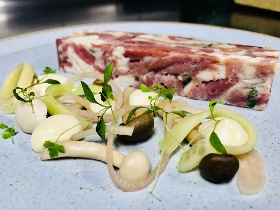 Kirtlington, UK: Cotswold White Chicken & Ham Hock Presser, Pickled Mushrooms, Shallot & Celeriac Puree