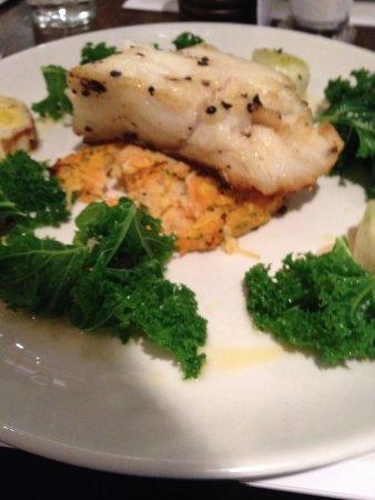 Market Lane : baked cod rosti leeks chorizo kale
