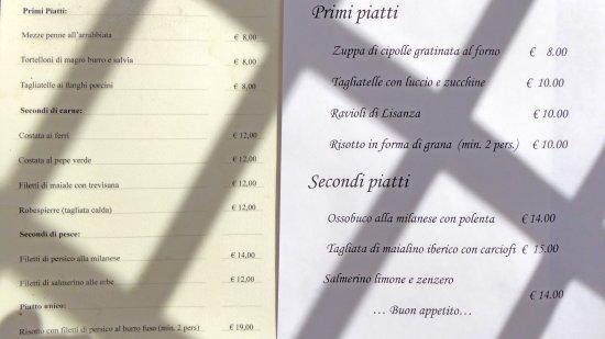 Lisanza, Italy: Il menù dei primi e secondi piatti