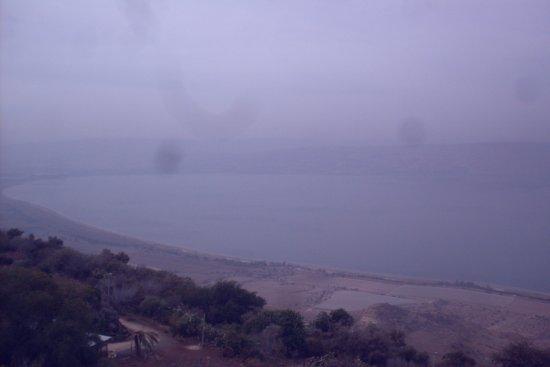 Kfar Haruv: view of Sea of Galilee from kibbutz lodge