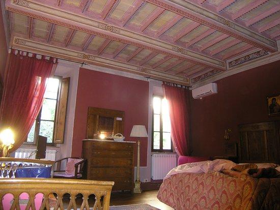 Palazzina Cesira: I soffitti decorati della camera