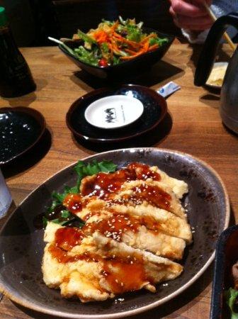 Mikuni Japanese Restaurant And Sushi Bar: Happy hour, sesame chicken + a Bonsai salad