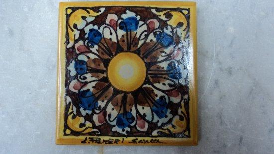 Piastrella fiore ceramiche artistiche liborio pameri