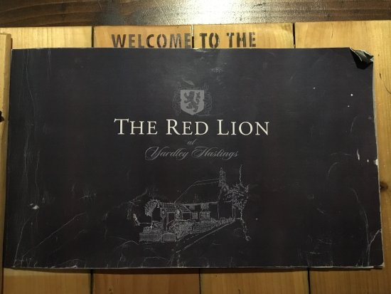 The Red Lion - Yardley Hastings Northampton: Unique presentation of menu