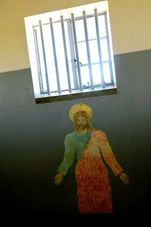 Robben Island: Art done by an unknown prisoner in one of the wards - looks like a message of hope