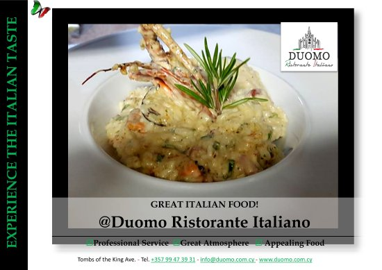 Experience the Italian taste! Signature Italian Dishes! Enjoy!