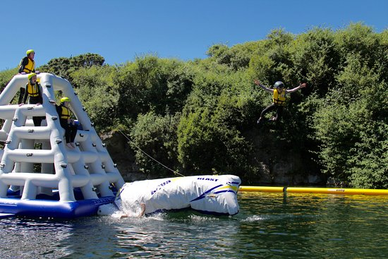 Penryn, UK: Our Aquapark lets you blast off in safety!