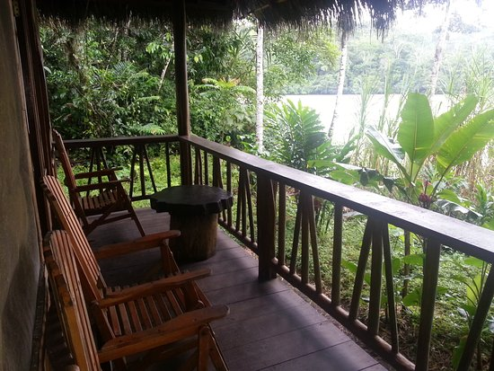 Cotococha Amazon Lodge: The balcony of one of our river bungalows offer guests this beautiful landscape