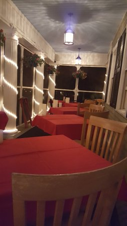 Bethel, Maine: View of the patio seating area AFTER we finished dinner.