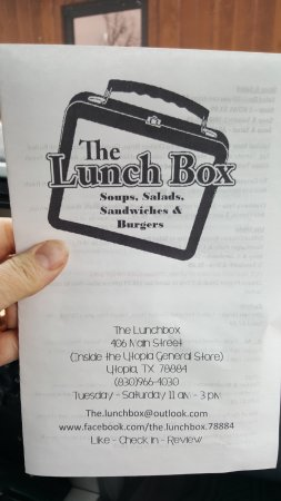The Lunch Box: menu - gives address