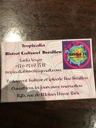 carte de visite paris La carte de visite   Picture of Tropicalia Restaurant, Traiteur