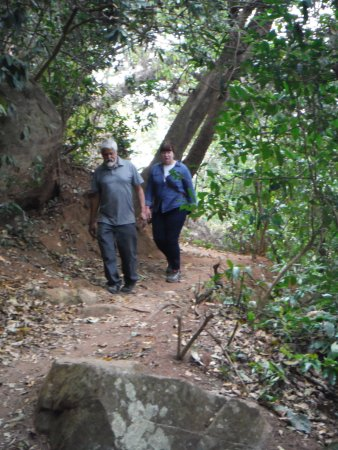 Chitimba, Malaui: Walking in the Livingstonia area. Our companions Theo and Wanda