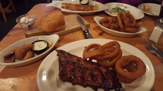 Bellaire, MI: Ribs and fish combo and pecan crusted whitefish.