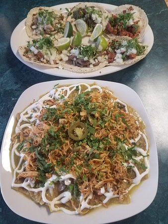 Riverside, NJ: Chicken, steak, and pork tacos (top) and chicken tinga chilaquiles (bottom)