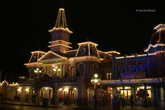 City Hall Main Street Disneyland Paris. Christmas lights Disneyland Paris entrance