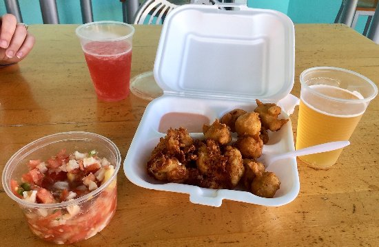 Daddy Brown's Conch Stand: Lobster, fritters, conch salad radler, beer!