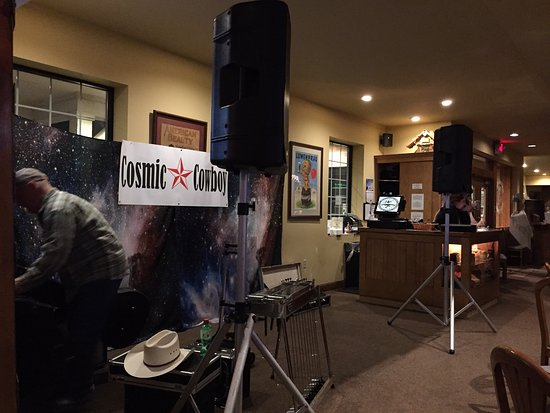 Delafield, WI: Setting up for a band on Saturday evening.