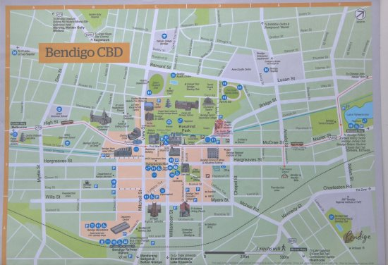 Map Bendigo CBD Picture of Central Deborah Gold Mine Bendigo