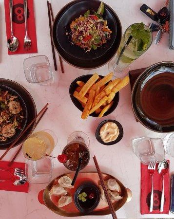 No. 8: Beef and Coriander dumplings, Kale & Prawn salad, Salay Chicken salad + fries and aioli