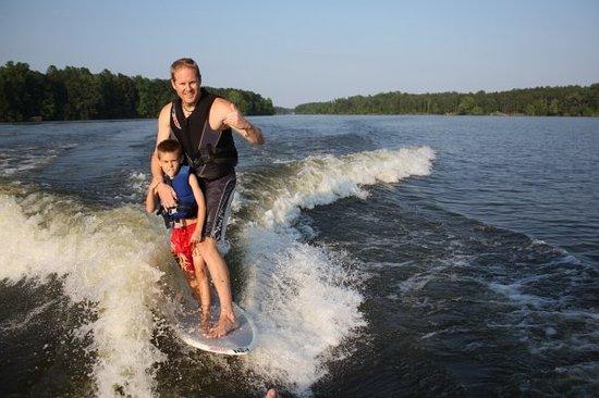 Wakesurfing on High Rock Lake