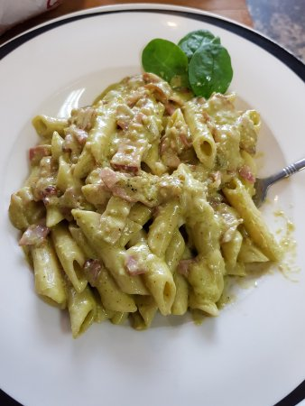 Be Rude Not To Cafe: My penne pasta with pesto and bacon