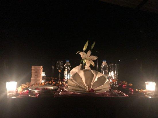 In Room Candle Lit Dinner Set Up Picture Of Hilton Shillim Estate Retreat Spa Shilimb Tripadvisor