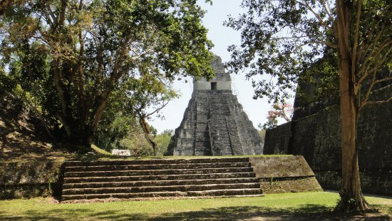 Flores, Guatemala: A view of one of the pyramids.