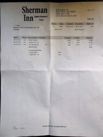 Wolf Point, MT: $84.53 au total avec mes coordonnées effacées