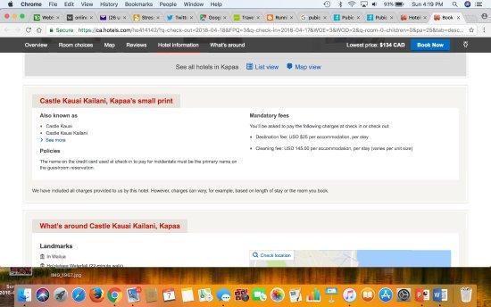 Kauai Kailani: The fine print buried at the very bottom of Hotels.com booking!!