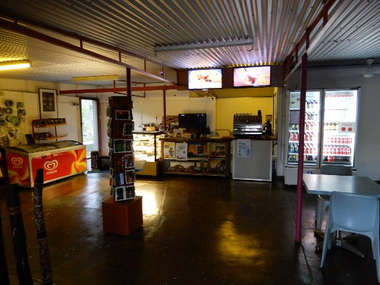 "Border Store in Kakadu: Interior of ""store"". Not much for sale. Order food at counter"