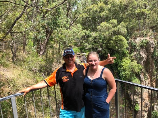 Killarney, Australia: Daughter and I hiding the falls