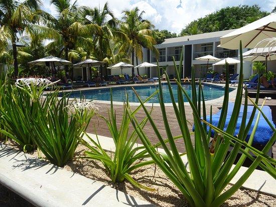 Villas Mon Plaisir: Fijn zwembad met de hotelkamers op de achtergrond