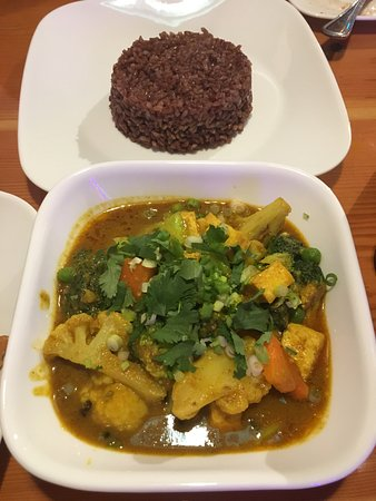 Amherst, MA: Vegetable Curry with red rice
