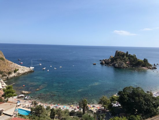 Panoramic Hotel: view from pool overlooking Isola Bella