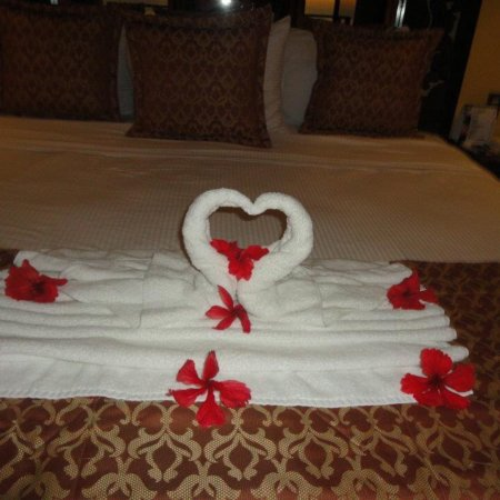 Zephyr Palace Luxury Rental Mansion: Housekeeping staff does wonderful job with towel decorations!