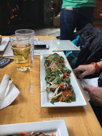 Snake River Brewing: belly pork salad!