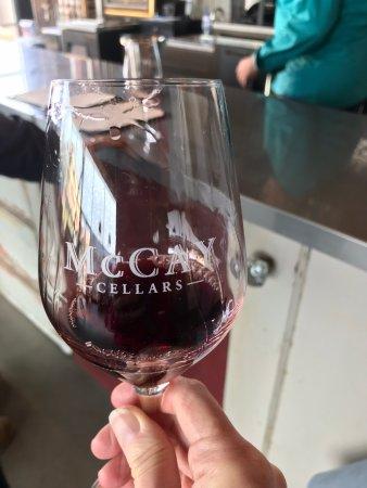 McCay Cellars: Beautiful deep red wine in glass