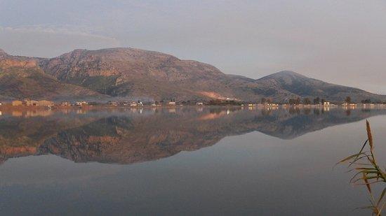 Vasso Katraki Museum : view from the lagoon 'promontory' to the Aetolian Hills